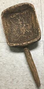 Antique Primitive Large Farm Kitchen Early Hand Hewn Carved Wooden Ladle Scoop