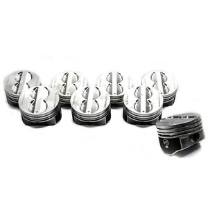 Sbc Chevy 350 Flat Top Pistons 4 Vr Coated Skirt Std 020 030 040 060 H345dcp