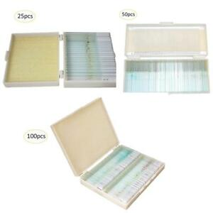 25 100pcs Biology Glass Prepared Microscope Slides Lab Specimens With Wooden Box