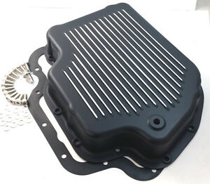 Shallow Black Finned Aluminum Th 400 Th400 Turbo 400 Transmission Pan Chevy
