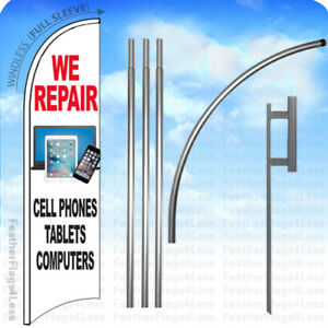 We Repair Cell Phones Tablets Computers Windless Swooper Flag Kit Sign 15 Wb