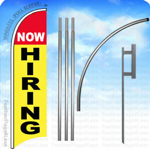 Now Hiring Windless Swooper Flag Kit Feather Banner Sign 15 Deluxe Pole Set Yb