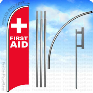 First Aid Windless Swooper Flag Kit Feather Banner Sign 15 Deluxe Pole Set Rb