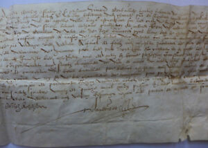 1595 Rare Manuscript Parchment Letter Very Nice Signature And Oncial Writting