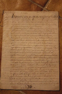 1777 Amazing Manuscript Parchment Letter With Signature And Paris Stamp Awesome