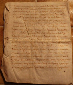 C1600 Large Manuscript Skin Parchment Letter Oncial Calligraphy 4pp Nice Layout