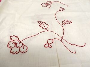 Antique White Lawn Pillow Shams Or Table Covers Red Poppies Arts Crafts