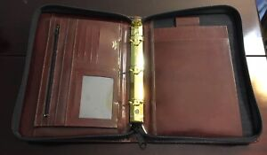 Vintage Bosca Deluxe Brown Leather Full Zip 3 ring Binder Portfolio Organizer