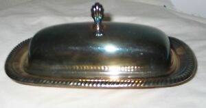 Silver Plate Butter Dish With Removable Liner And Cover Vintage 8