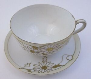 Nippon Hand Painted Tea Cup Saucer Gold Floral Trim 15c