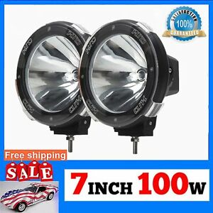 1 Pair 7 Inch 12v 100w Hid Driving Lights Xenon Spotlights For Offroad Ga