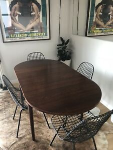 Danish Mid Century Modern Expandable Teak Dining Table