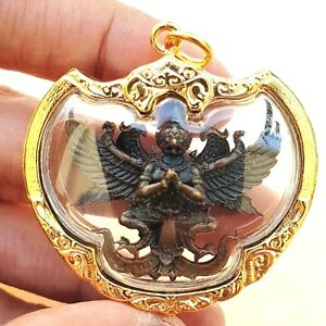 Phaya Krut Garuda Thai Amulet Brass Magic Luck Protect Wealth Pendant Gold Case