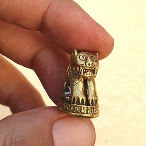 Tiger Sit Thai Amulet Miniature Brass Holy Talisman Powerful Safety Wealth Luck