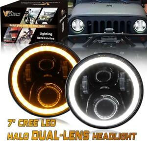 Pair 7 Inch Round Led Headlights High Low Beam White Halo Ring Angel W Drl