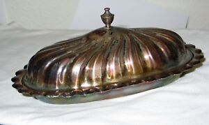 Silverplate Butter Dish W Cover Glass Liner