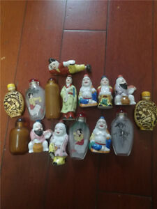 15pcs Old Porcelain Bone Meal Different Snuff Bottle Collectable Exquisite Staue