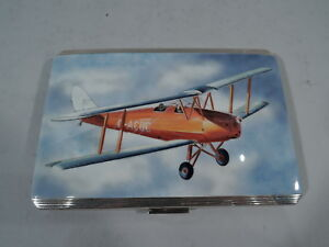 Airplane Cigarette Case Aviation Collectible English Sterling Silver Enamel