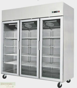 78 Freezer Restaurant Triple Glass Door 70 Cu Ft Stainless Reach in 220v New