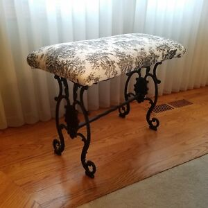 Vtg Decorative Wrought Iron Vanity Piano Bench Art Deco French Victorian Seat