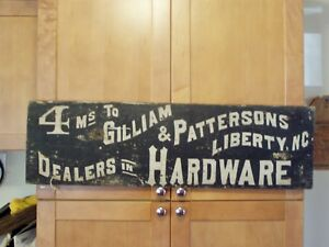 Antique Hardware Store Road Sign Wood Pre 1922 Trade Sign Liberty Nc Greensboro
