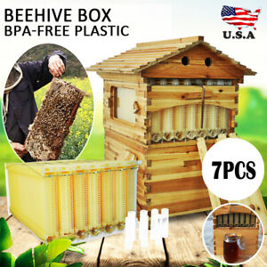 7x Upgraded Free Flow Honey Hive Beehive Frames Beekeeping Brood Cedarwood Box