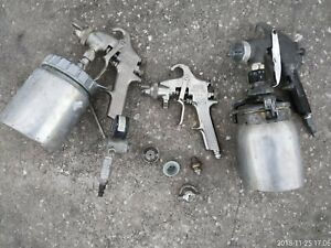 Binks Devilbiss Model 69 Spray Gun 2 Complete Nozzle Set Up W Paint Cups lot