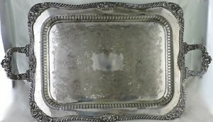 Antique Silver Plated Butler S Tray Footed Handled Ornate Cut Out 27 1 2
