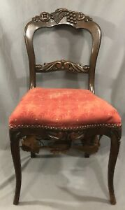Fruit Carved Chair Vintage Antique Victorian Style For Repair Upcycle Redo