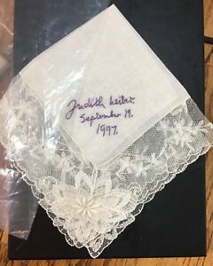 Antique Applique Lace Handkerchief Signed Embroidered Judith Leiber Magnificent