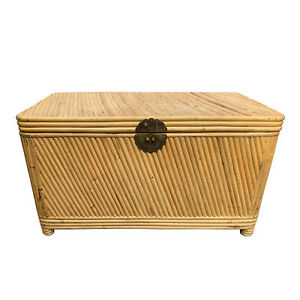 Vintage Palm Beach Rattan Trunk Chest Bamboo Coffee Table Toy Chest Regency