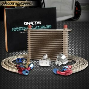 15 Row 10an Powder coated Aluminum Engine Transmission Racing Oil Cooler Kit
