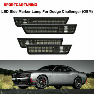 For 2008 2014 Dodge Challenger Front rear Bumper Side Marker Lights Lamp Smoked