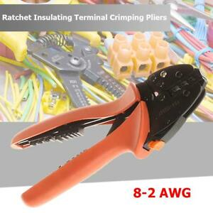 8 2 Awg Ratchet Terminal Crimping Pliers Wire Cable Connectors Crimper Hand Tool