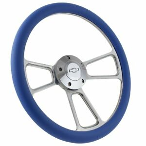 Blue Half Wrap 14 Billet Steering Wheel Kit With Hub Adaptor Horn Button Chevy
