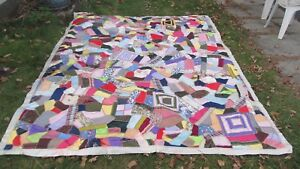 Perfect Huge Antique Military Sweetheart Crazy Quilt Wwi Wwii Crafts Gift
