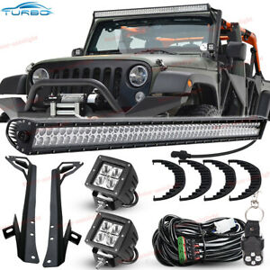 50inch 700w Led Work Light Bar 2x Cube Pods mount Bracket For Jeep Wrangler Jk