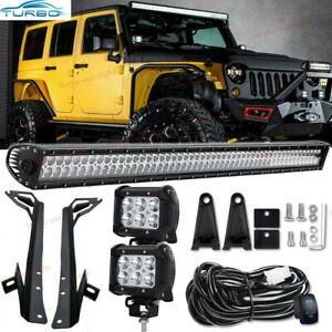 For Jeep Wrangler Jk 07 17 52 700w Led Light Bar 2x 3 18w Pods