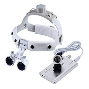 Dental Surgical Binocular Loupes 3 5x Leather Headband Magnifier Led Headlight