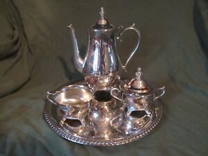 International Silver Co Hand Crafted 4 Pc Silver Plated Tea Coffee Set