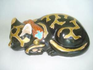 Beautiful Antique Japanese Kutani Porcelain Sleeping Black Cat 10