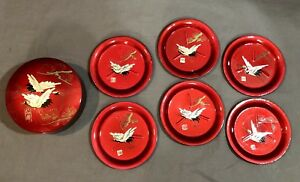 Set Of 6 Japanese Red Lacquer Ware Coasters Crane Design With Box Alcohol Proof