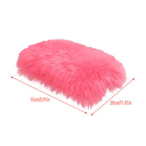 Warm Winter Car Armrest Cover Pink Console Box Pad Mat Fur Cover For Woman X5q4