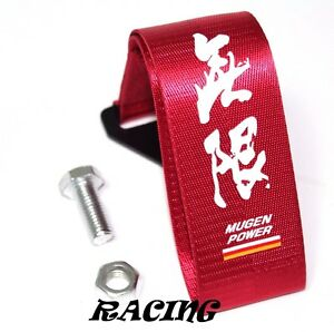 Jdm Mugen Power Racing Universal Front Rear Tow Strap Tow Hook Ribbon Red