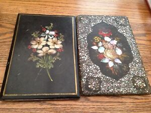 Antique Japanese Lacquerware Book Panels Inlaid Abalone Floral Hand Painted