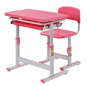Kids Desk And Chair Homework Project Study 2 piece Pink Multi angle Age 3 10