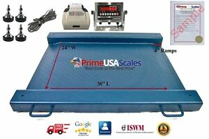 Floor Scale Drum Scale Stainless Steel Indicator 2000 Lb Legal For Trade Printer