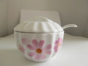 Porcelain Sugar Bowl White With Pink Flowers Floral With Spoon Ladle
