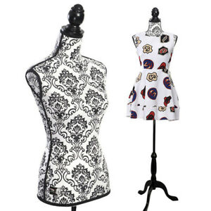 Female Mannequin Torso Dress Form Display W Mdf Tripod Stand Black Decorative