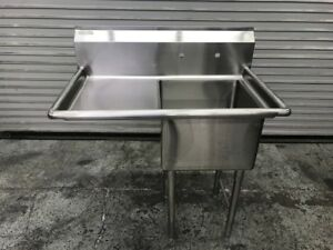 New 1 Compartment Food Prep Sink Stainless Left Drain Board Nsf 9348 Commercial